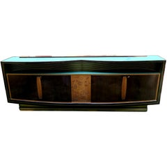 Vittorio Dassi Walnut Sycamore & Brass  Four Door Credenza, Sideboard Italy 1960