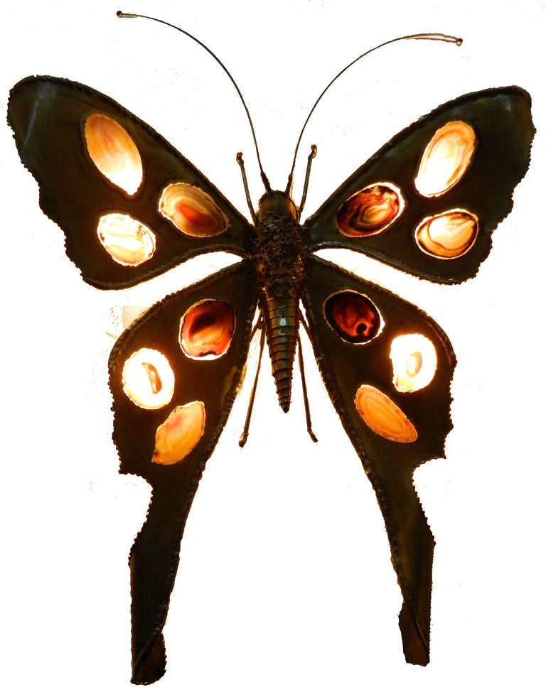 Very decorative butterfly sconce or table lamp sculpture by J.DUVAL BRASSEUR with 6 agates.