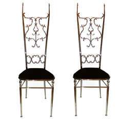 Two Neoclassical Nickel-Plated Chiavari Chairs