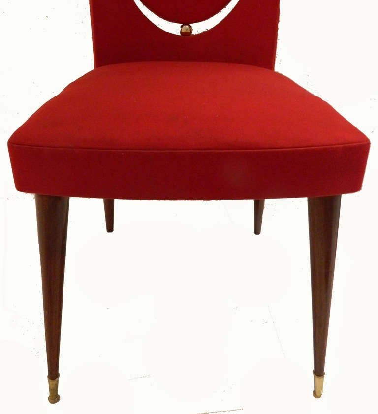 20th Century SATURDAY SALE. Set of Six Dining Room Chairs by Maison Gouffe, Paris For Sale
