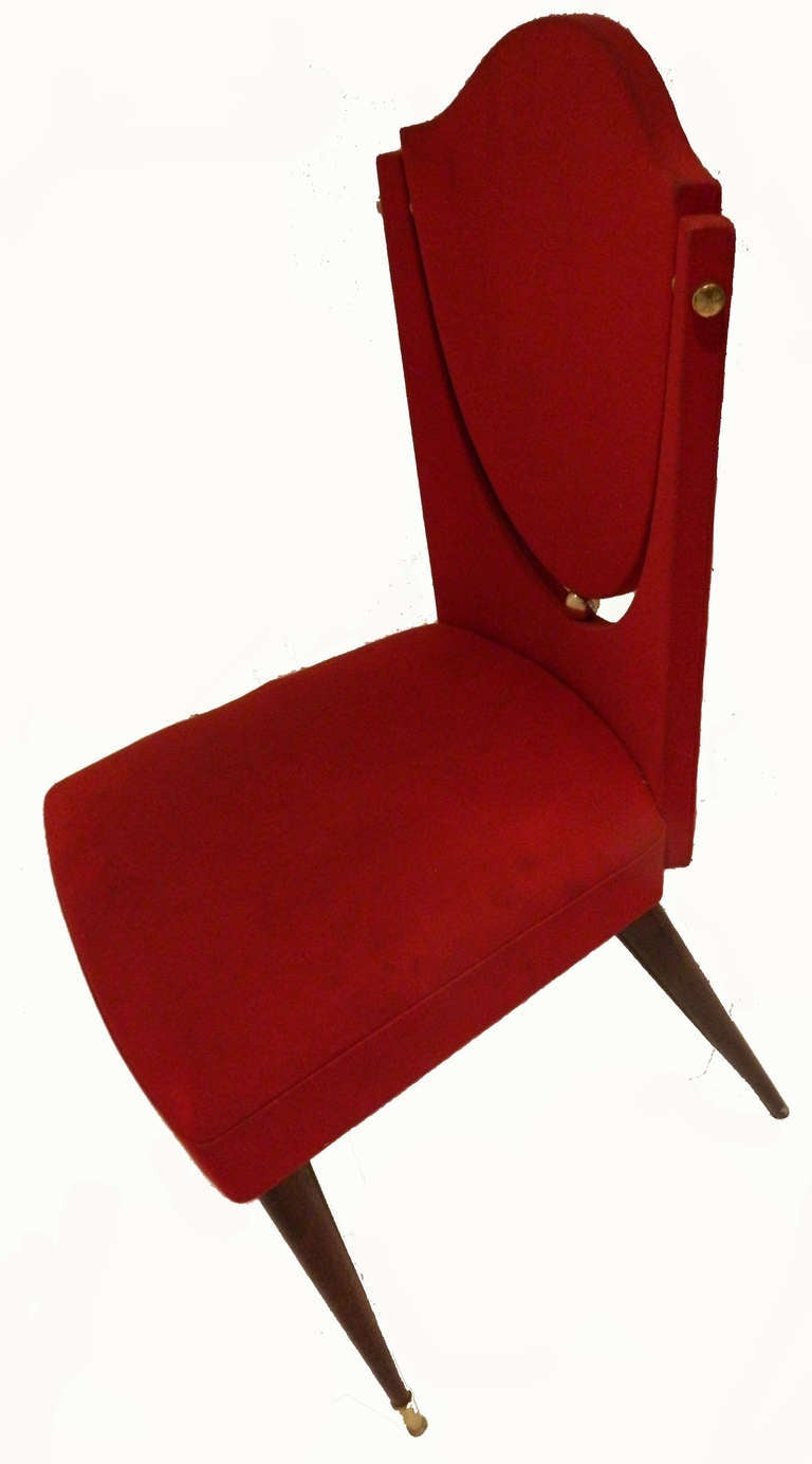 Superb set of six dining room chairs by Maison Gouffe Faubourg Saint Antoine, Paris. Back in a form of shield. circa 1960s. Original red fabric. H overall : 36.5 in. W : 18 in. H back : 17.5 in. H seat : 19 in.