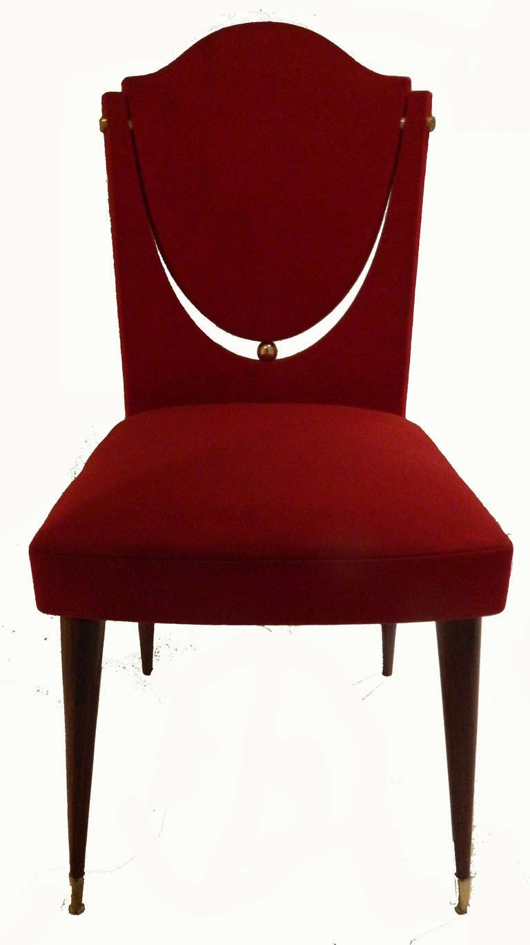 Brass SATURDAY SALE. Set of Six Dining Room Chairs by Maison Gouffe, Paris For Sale