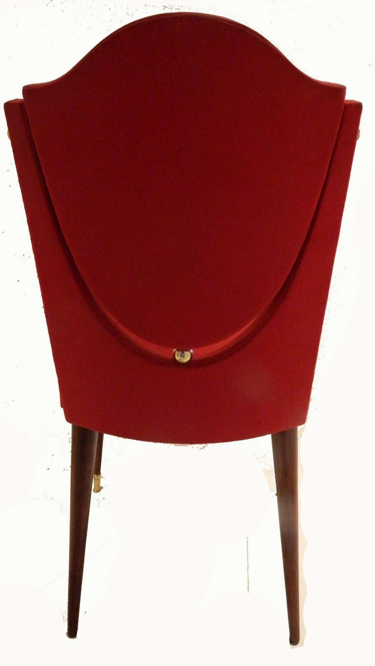 French SATURDAY SALE. Set of Six Dining Room Chairs by Maison Gouffe, Paris For Sale