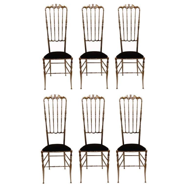 Set of Eight Tall Nickel-Plated Chiavari Chairs