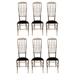 Set of Eight Tall Nickel-Plated Chiavari Chairs
