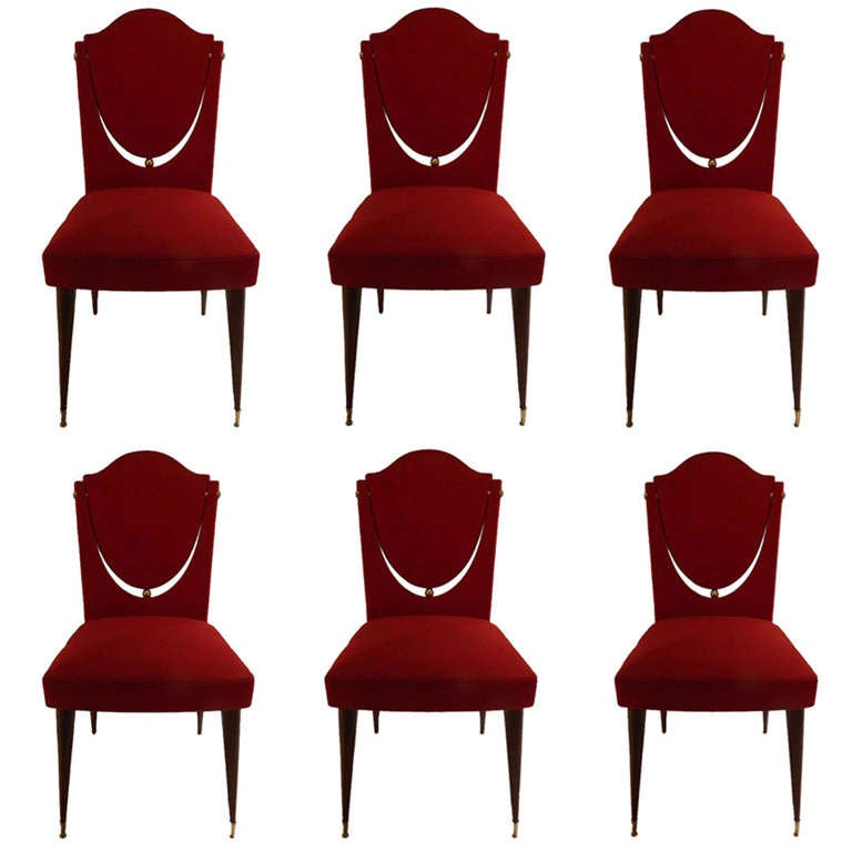 SATURDAY SALE. Set of Six Dining Room Chairs by Maison Gouffe, Paris For Sale