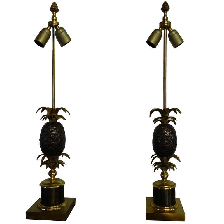 2 Pineapple Table Lamps by Maison Charles