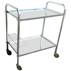 Jacques Adnet Style Bar Cart Mirror Glass Top on Casters Mid-Century Modern