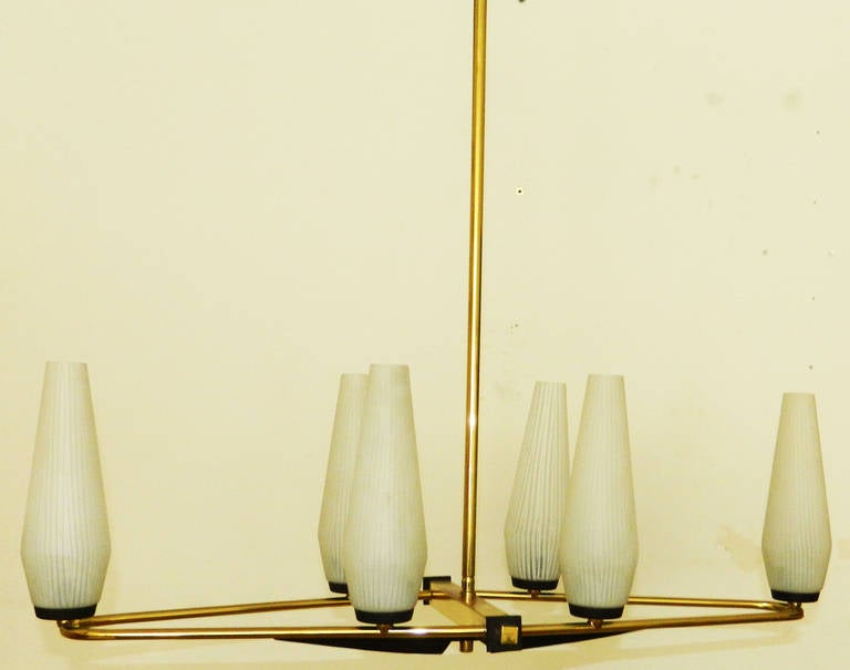 Brass Italian Chandelier by STILNOVO For Sale