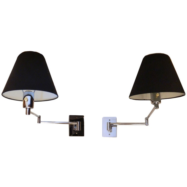 Wall Lamps Retractable : Pair of Signed HANSEN retractable wall sconces at 1stdibs