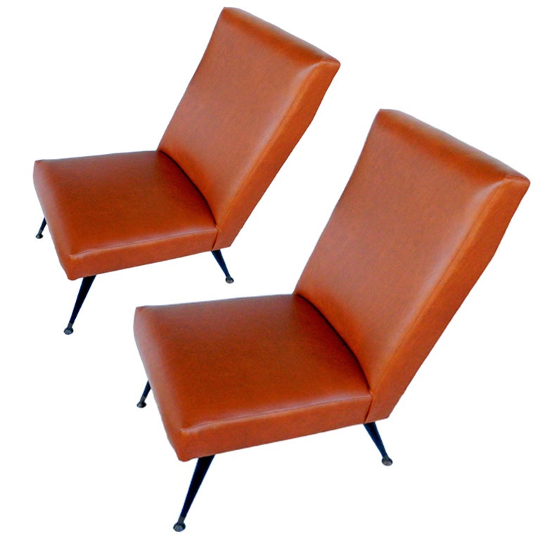 Pair of Marco Zanuso Slipper Chairs For Sale
