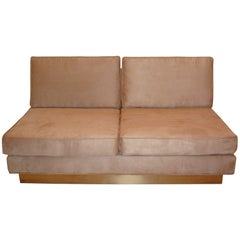 Jacques Charpentier Loveseat & Lounge Chair in Beige Ultrasuede 1970s France