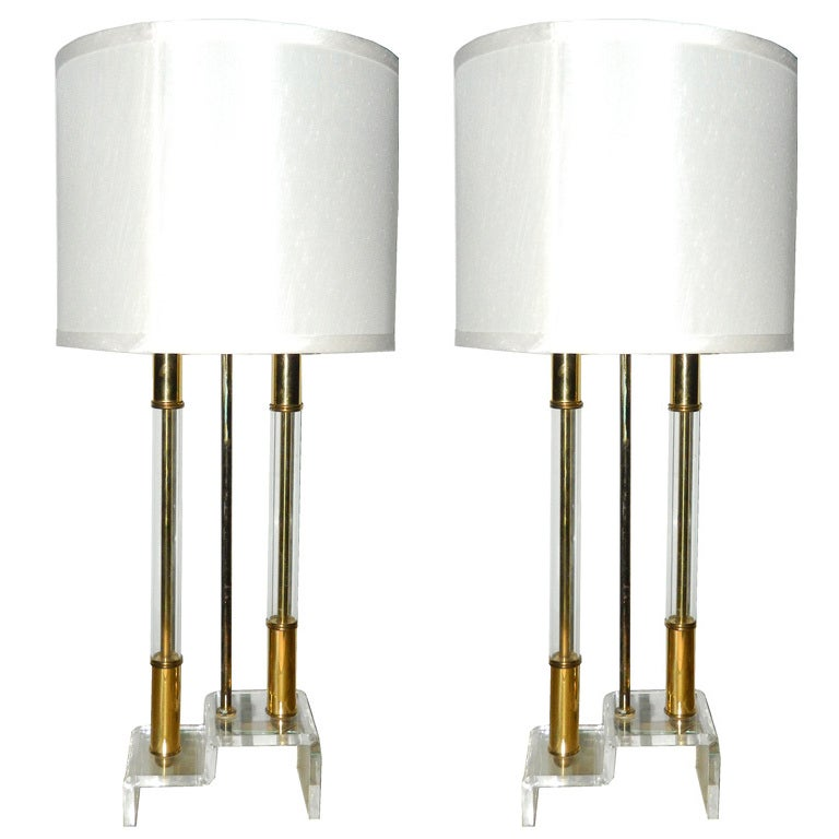 Pair of Lucite and Brass Table Lamps For Sale