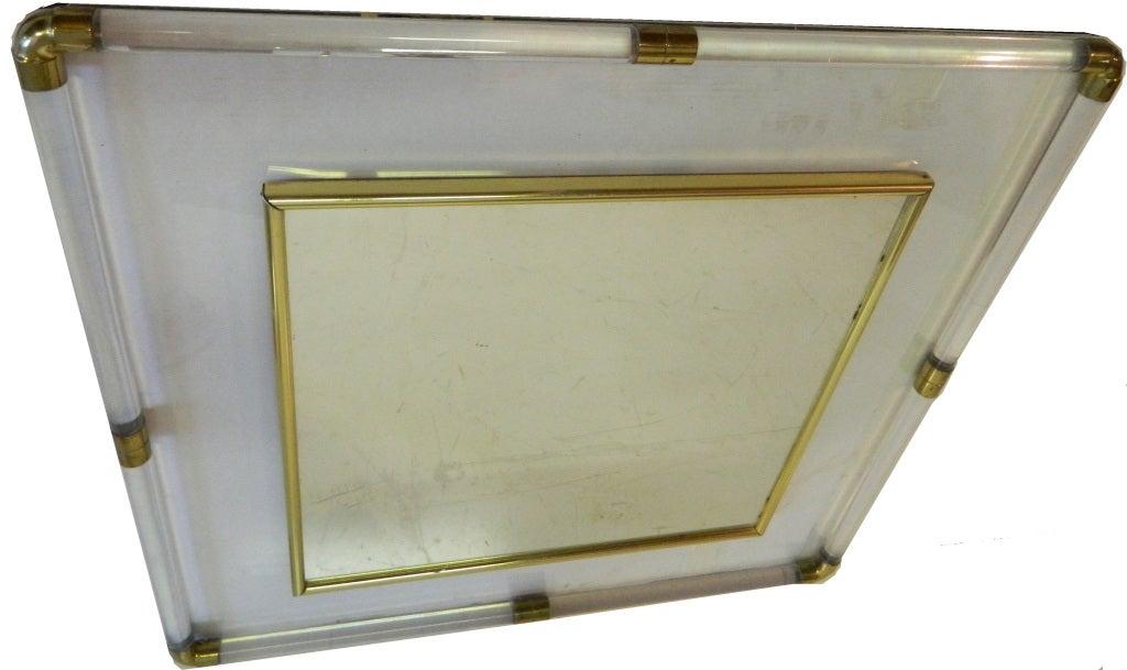Huge square Lucite Mirror In Good Condition For Sale In Miami, FL