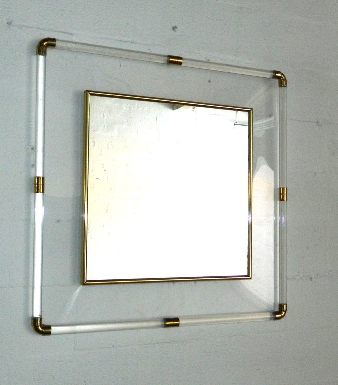 Huge square Lucite Mirror For Sale 1