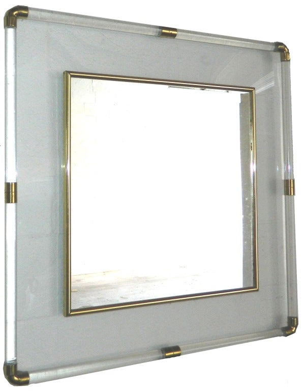 Italian Huge square Lucite Mirror For Sale