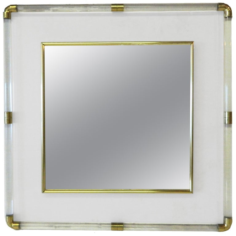 Huge square Lucite Mirror For Sale