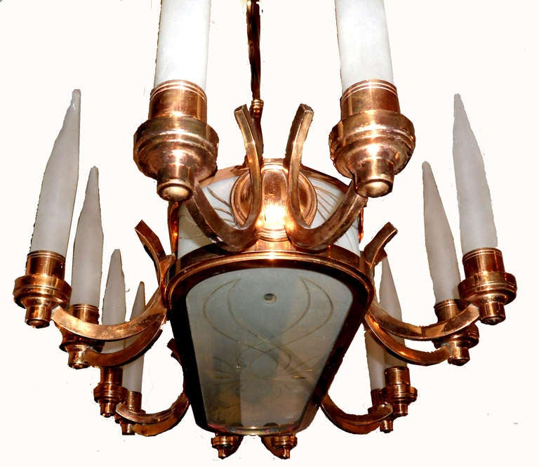 Mid-Century Modern French Oval Chandelier, circa 1940 For Sale