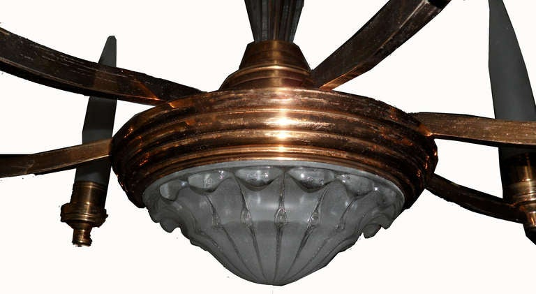 Mid-Century Modern C.1940's Copper Chandelier For Sale