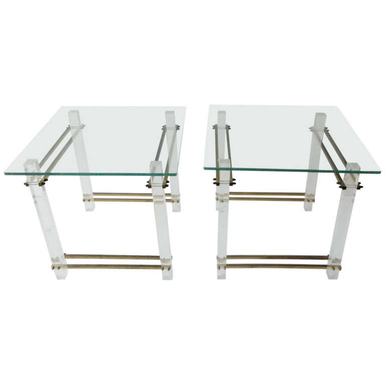 Pair of Lucite and Glass Side or Bedside Tables