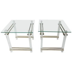 Mid-Century Modern Lucite, Brass, Glass & Side, End Table, Bedside Tables - Pair
