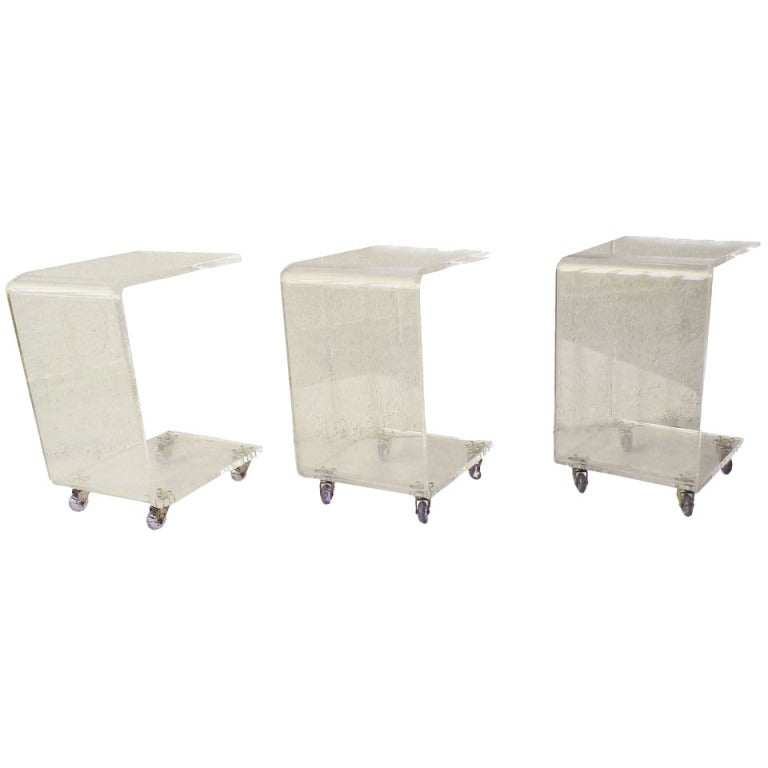 Set Of 3 Lucite End Tables