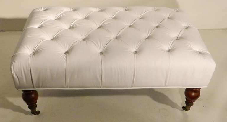White Leather Napoleon Iii Period Tufted Ottoman At 1stdibs