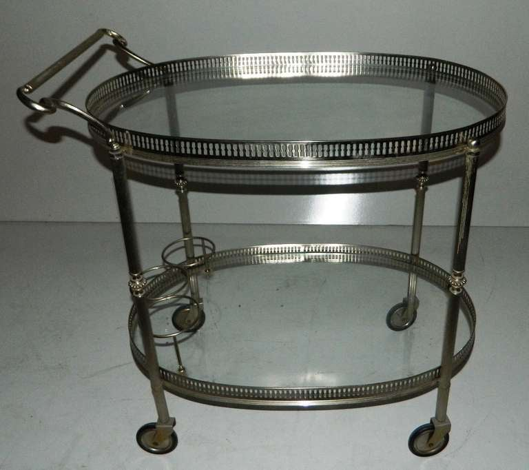 Silvered Bronze Bar Cart By Maison Lancel Pais France At