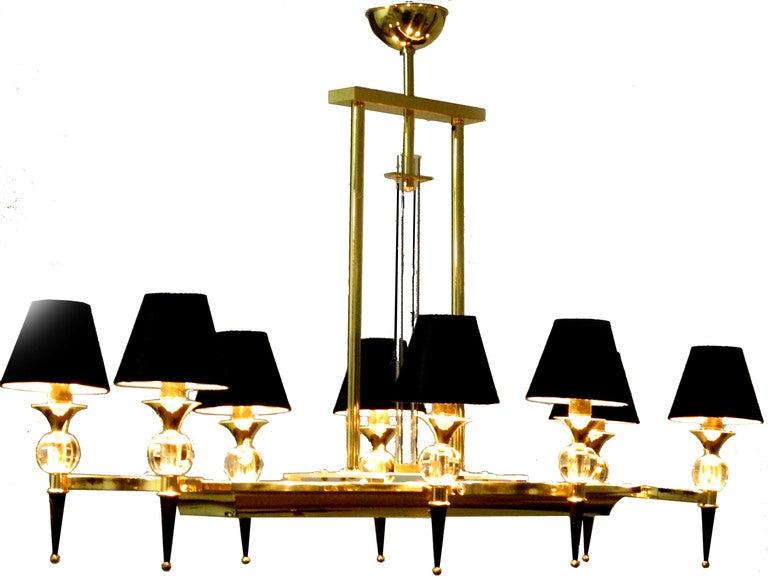 Impressive 8 lights 2 tone ( gun metal & brass) rectangular Maison JANSEN Chandelier with glass rods center column
