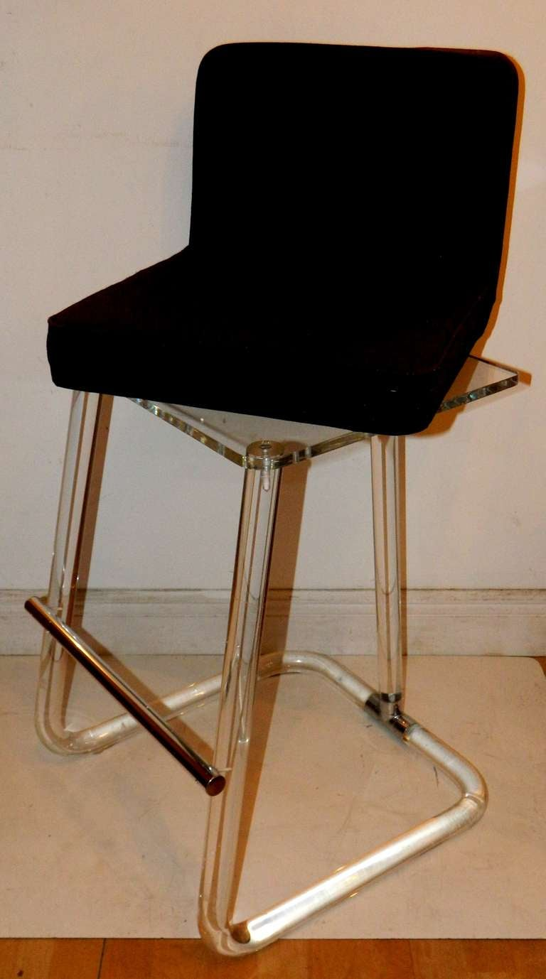 Mid-Century Modern Pair of Lion in Frost St. Bar Stools For Sale