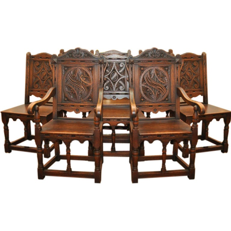 1890-1910 English Set Of 8 Carved Chairs Including 2 Arm