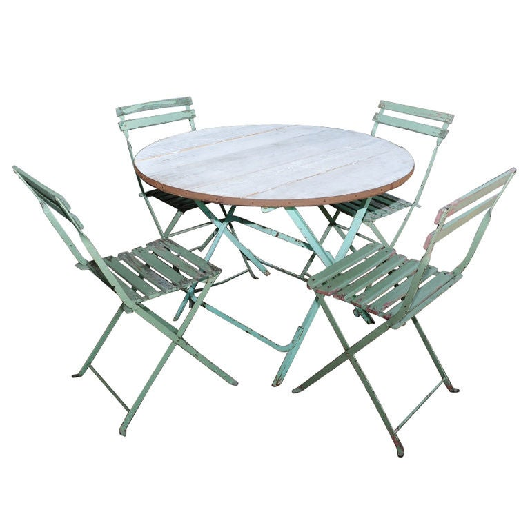 French 1920 folding bistro picnic set 1 table 4 chairs - French style bistro table and chairs ...