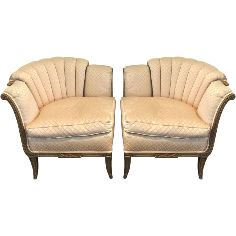 Pair Of Channel Lowback Upholstered Corner Chairs Small