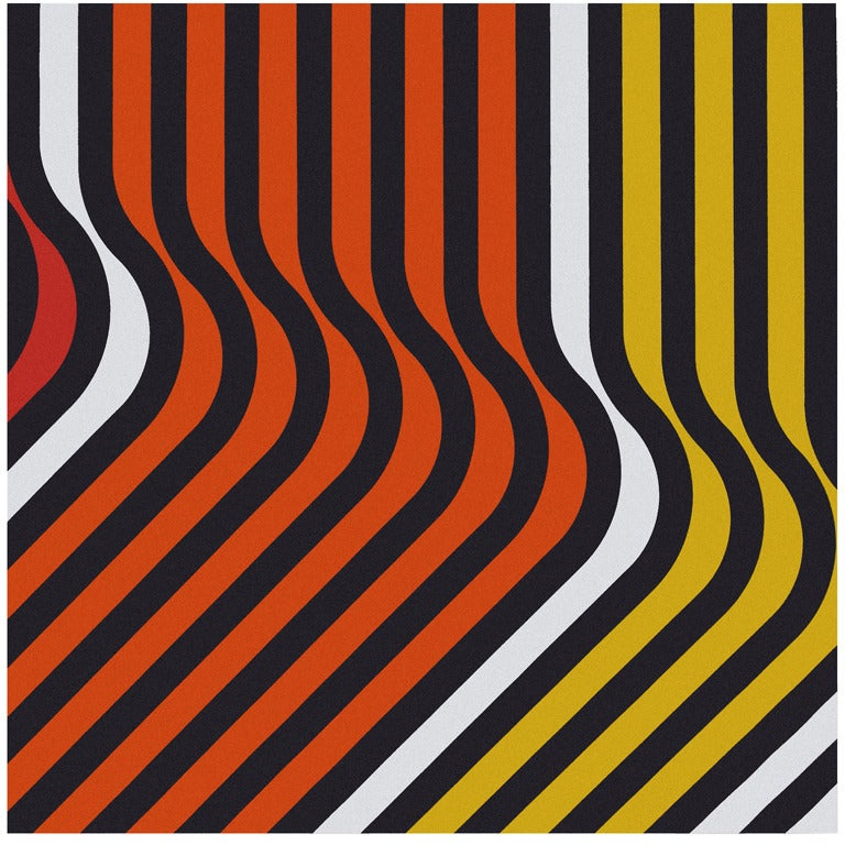 u201cRipplesu201d 1970s Orange and Yellow Framed Fabric Wall ...