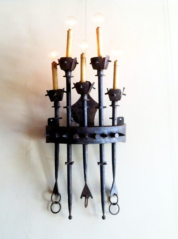 Large Iron Wall Sconces : Set of Four Large Brutalist Iron Wall Sconces at 1stdibs