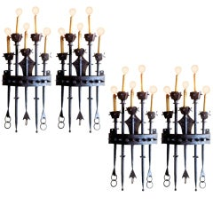 Set of Four Large Brutalist Iron Wall Sconces