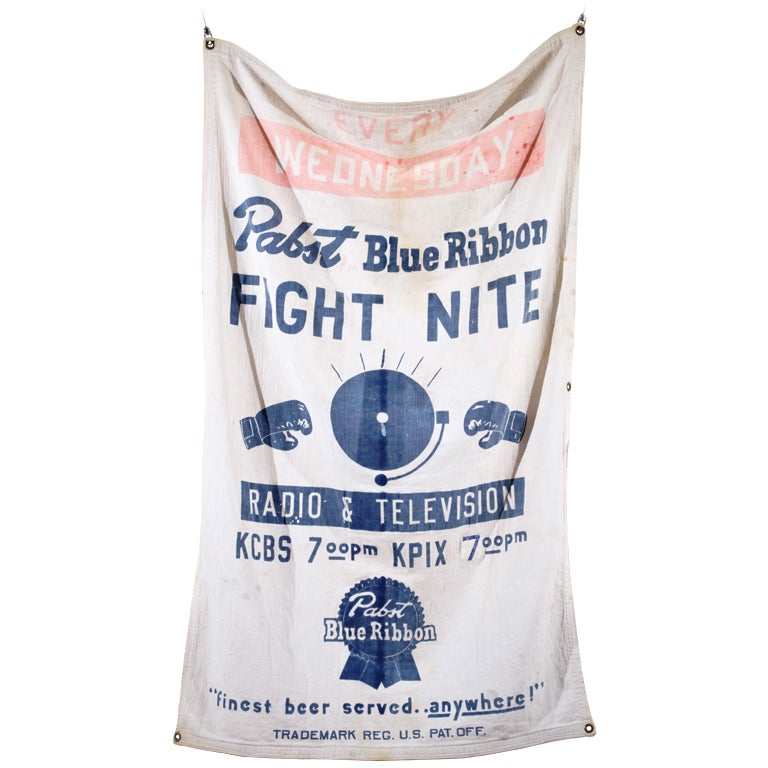 """Pabst Blue Ribbon Beer """"FIGHT NITE""""  Banner"""
