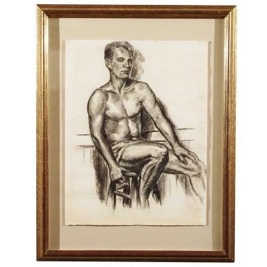 Charcoal Academic Study of  Male Nude