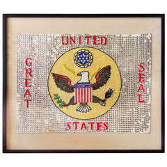 "Folk Art Beadwork Sign of the United States ""Great Seal"""