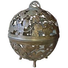 Japanese Meiji Bronze Spherical Lantern