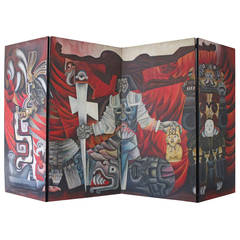 Cortez: The Conquest of Mexico Four-Panel Screen Painting