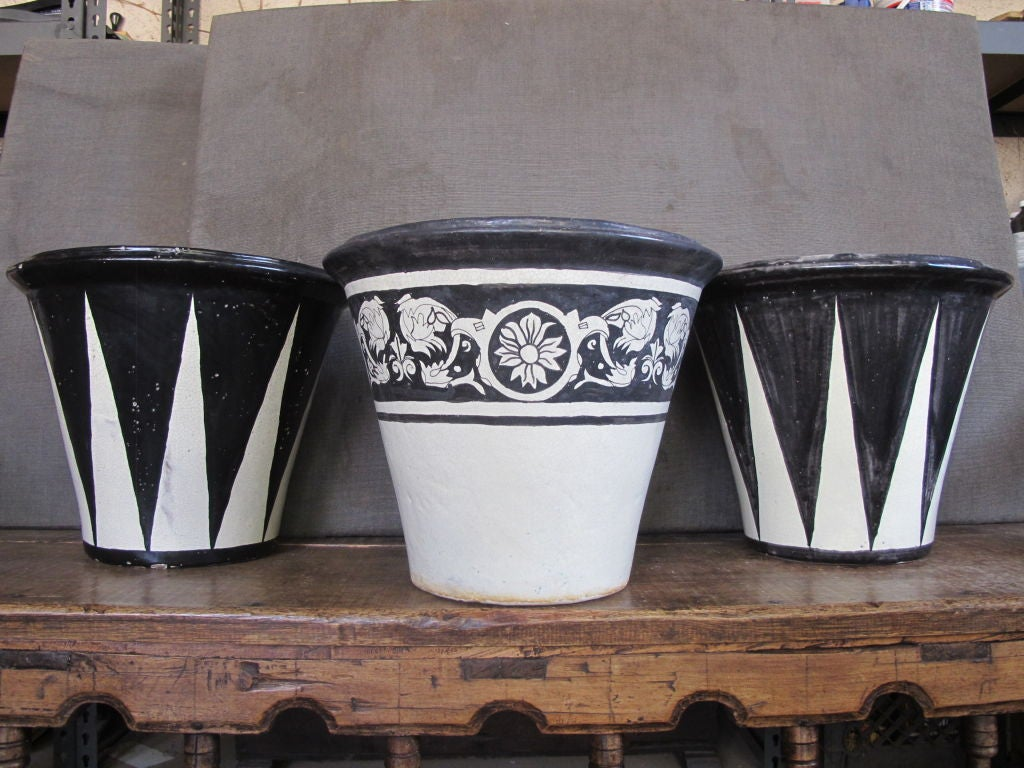 mexican black and white glazed flower pots at 1stdibs