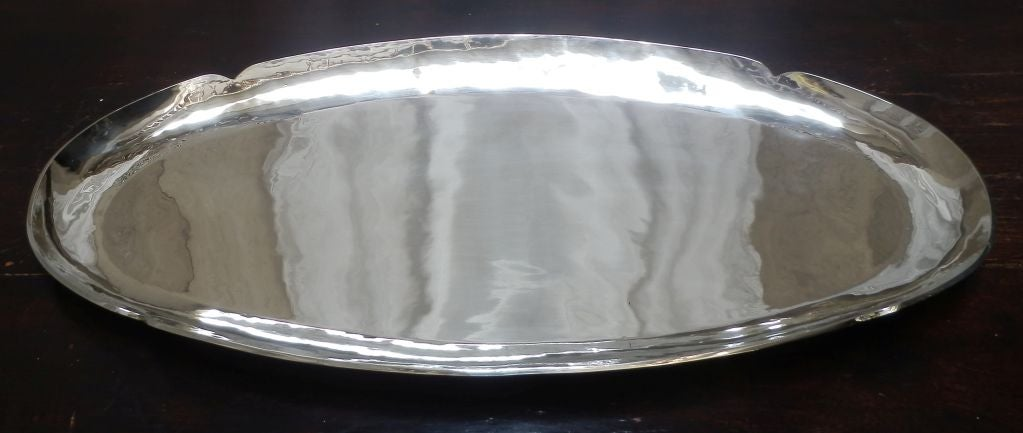 Large Mexican alpaca silver oval tray. Can be used for serving, as a centerpiece and/or as a bar tray.