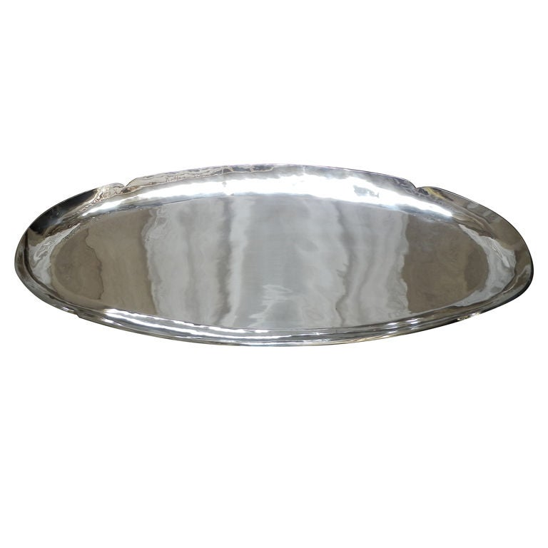 Large Oval Silver Tray For Sale