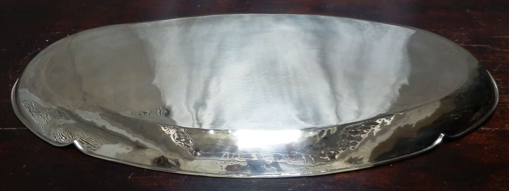 Mexican Large Oval Silver Tray For Sale