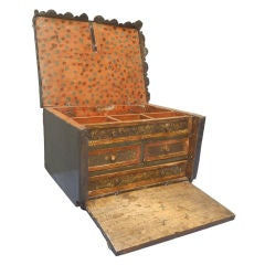 18th C Spanish Colonial Leather Covered Vargueño /Traveling Desk