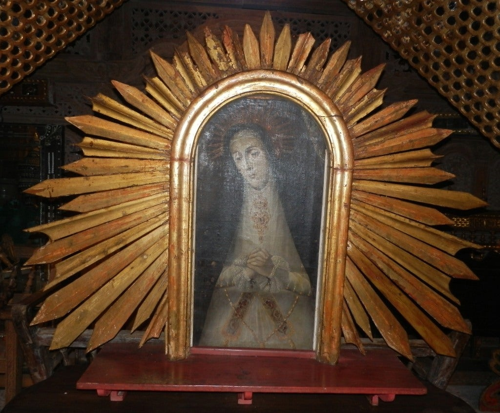 Spanish Colonial Our Lady of Sorrows Painting w/Sunburst Frame 2