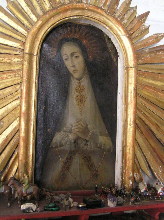 Spanish Colonial Our Lady of Sorrows Painting w/Sunburst Frame 3