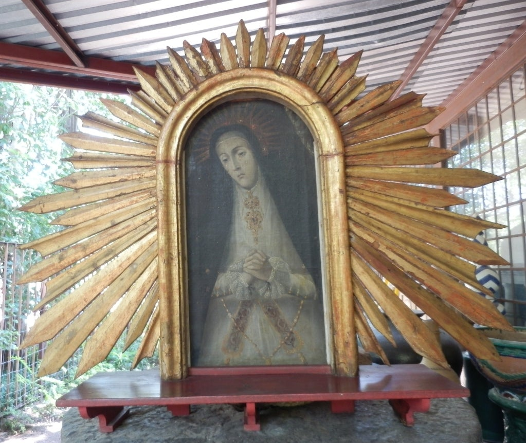 Spanish Colonial Our Lady of Sorrows Painting w/Sunburst Frame 4