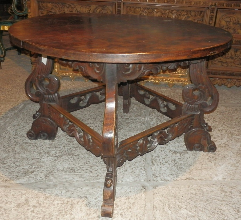 Wooden Head Table ~ Late spanish colonial round wooden eagle table for sale at